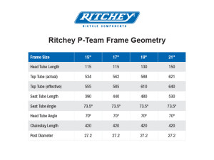 Ritchey P Team Rahmen Geometriedaten