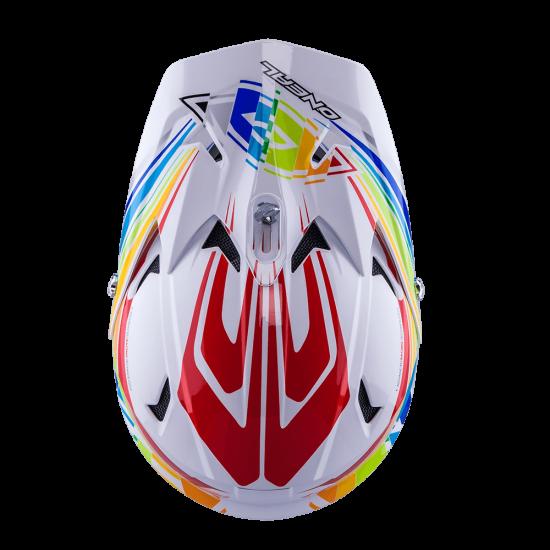 ONeal Fury Fidlock DH Helm Evo Rainbow weiss_rot_gelb_grün_blau_Oben
