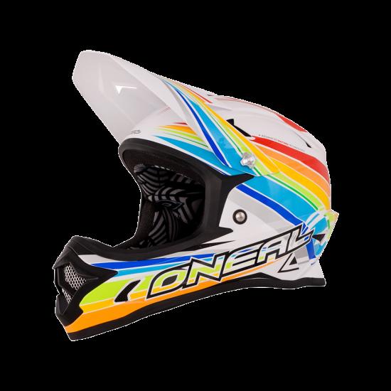 ONeal Fury Fidlock DH Helm Evo Rainbow weiss_rot_gelb_grün_blau_Seite_links