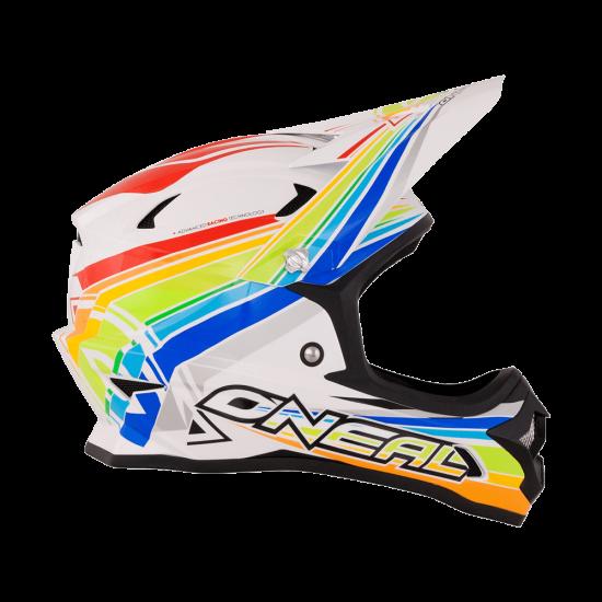 ONeal Fury Fidlock DH Helm Evo Rainbow weiss_rot_gelb_grün_blau_Seite_rechts