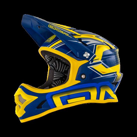 Oneal Fury Fidlock DH Helmet Evo JEDI gelb blau Seite links